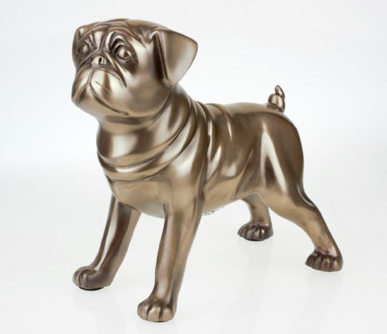 Cold Cast Bronze Standing Pug Ornament Dog Gift Boxed Dog Figurine Medium Size